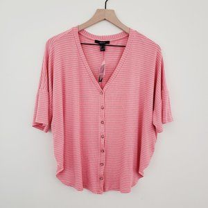 Forever 21 Striped Button Top NWT Size Lar…